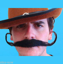 Outlaw Guslinger Handlebar Moustache Black Human Hair Quality Natural Looking