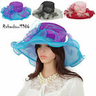 Women Chic Kentucky Derby Hats Summer Wide Brim Floral Wedding Dress Church Hat
