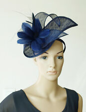 NAVY BLUE FASCINATOR FLOWER FEATHERS HAT RACES WEDDING MILLINERY DERBY DAY