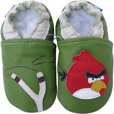carozoo bird slingshot green 6-7y soft sole leather kids shoes slippers