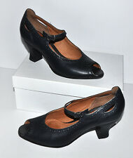 Clarks Artisan Collection Dark Blue Leather Tooled Circle Edges Peep Heels Sz.9