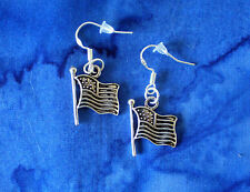 JULY 4TH PATRIOTIC AMERICAN FLAG USA SILVER DANGLE CHARM EARRINGS~STERLING HOOK