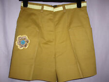 OSTWALD HELGASON ladies KHAKI shorts size 8 NEW rrp.£195 crochet flower.SMART