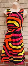 G21 PINK  YELLOW ORANGE ABSTRACT ZEBRA BACKLESS LACE UP SKATER FLIPPY DRESS 18