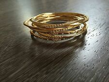 BEJE DESIGNS Gold Plated set of 5 bangle bracelets crystal stacking sexy GIFT