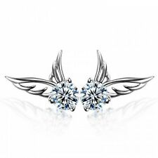 Crystal Angel Wings Butterfly Ear Stud 925 Sterling Silver Womens Girls Earrings
