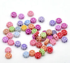 100 x Mixed Flower Acrylic Spacer Beads - 6mm - L20815