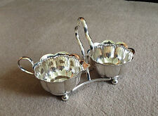 ENGLISH-MADE A1 SILVER-PLATED SEGMENTED MILK JUG & SUGAR BOWL SET c/w NEAT STAND