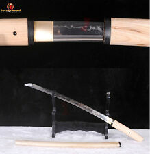 Japanese Shirasaya Sword Wakizashi T10 Steel Clay Tempered Battle Ready Blade