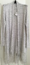 Abercrombie & Fitch Women's Gray Long Fringe Cardigan Sweater NWT! Sz Med/Lrg