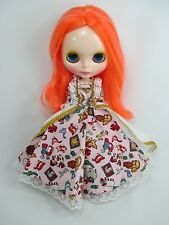 Blythe Outfit Handcrafted long sleeve dress basaak doll # 790