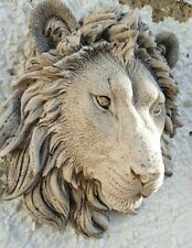 LION HEAD WALL PLAQUE STONE GARDEN ORNAMENT white sand various colors available