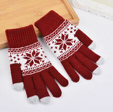 Warm Winter Gloves Knitted Touch Gloves Men Women Gloves Touch Screen Glove RED
