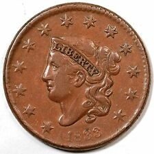 1833 N-6 Matron or Coronet Head Large Cent Coin 1c