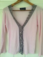 Johann Brun Pointelle Cardigan Size 2 UK 10 Pink Excellent