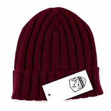 Men's COUNTRY CLUB Italy Merlot Red Cashmere Knit Beanie Hat Cap S/M $195!