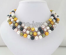 """P7570- ONLY Long 48.5"""" natural 10mm multicolor round freshwater pearl necklace"""