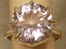 NATURAL 7ct lavender pink amethyst 13mm 925 sterling silver ring size 7.5 USA