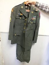 Vietnam War US Army Military Dress Full Green Uniform w/ Pins & Patches - SH842