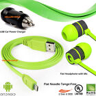 Earbud Headphone Mic +Micro USB Data Cable+Car Charger for Samsung HTC Android