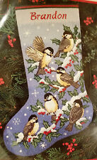 Dimensions 9118 HOLIDAY CHICKADEES Needlepoint Stocking Kit ~ Sealed
