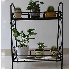 2 TIER Metal Shelves Indoor Plant Stand Display Flower Pots Racks Outdoor Garden