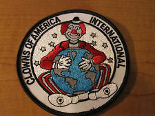 "CLOWNS Of AMERICA International Cloth Patch 4"" Round Globe CIRCUS Patch"