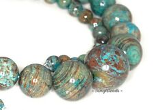 TURQUOISE CALSILICA GEMSTONE GRUADATED ROUND 16MM-6MM LOOSE BEADS 16""