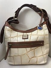 Dooney & Bourke Ivory And Brown Stamped  Leather Bucket Bag