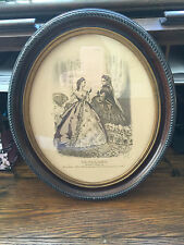 Antique Le Follet Print in Glass Oval Fame