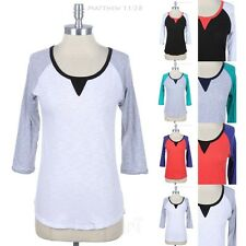 Contrast Color Block 3/4 Sleeve Raglan Round Neck Top Casual High Low Hem S M L