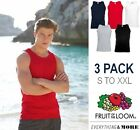 3 Pack Fruit Of The Loom 100% Cotton Athletic Vest Plain T Shirt Tank Top SALE
