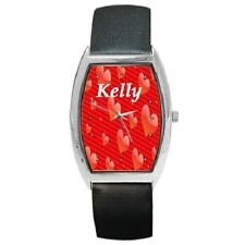 HEARTS PERSONALISED NAME BARREL STYLE LADIES WRISTWATCH **AWESOME GIFT**