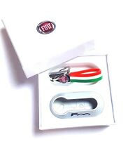 Fiat 500 Gloss Silver Key Cover + Italian Flag Key ring New & Genuine