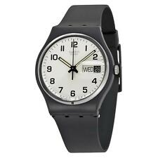 New Swatch Once Again Originals Black Rubber Day Date Classic Watch 34mm GB743