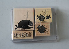 Stampin' Up! Whale Wishes Wood Mounted Fish Seaweed Puffer Whale New Retired