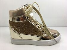 LADIES WOMENS ANKLE HIGH GOLD LACE UP HIDDEN WEDGE DIAMANTE TRAINERS SIZE 6