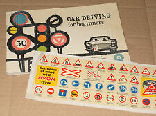 Vinatge 1960 Card Driving Booklet + Avon Super Safety Tyres Road Sign Transfers