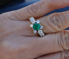 .90ct Emerald .55ct H/Si1-Si2 Emerald Diamond Engagement Ring
