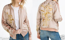 ZARA ONE SIZE M NUDE EMBROIDERED BOMBER JACKET FLORAL BOMBERJACKE MIT STICKEREI
