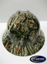 New Custom MSA VGard Full Brim Hard Hat W/Fas-Trac Ratchet Boneyard Legends Camo