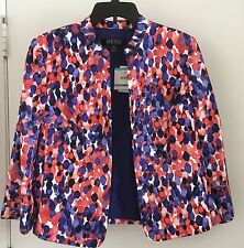 KASPER open blazer jacket buttonless red white blue career evening Size 16 NWT