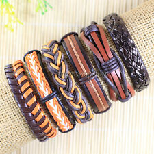 6pcs Wholesale Ethnic Tribal Genuine Leather Bracelet, Unisex,Free Shipping-L105