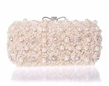 WOMENS BLACK BLUSH OFF WHITE FLORAL DIAMANTE PEARL CLUTCH BOW HAND BAG WEDDING