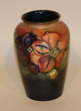 1940s Signed Walter Moorcroft Pottery 6 Inch Flambe Glaze Clematis Flower Vase
