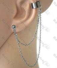 BALL STUD & CHAINS EAR CUFF chain earcuff earring GOTH EARRINGS gunmetal black