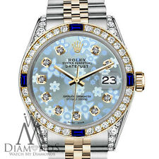 Womens Rolex 31mm Datejust 2Tone Glossy IceBlue Flower Dial Sapphire & Diamond
