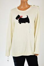 Charter Club Women Long-Slvs Ivory Dog-Graphic Metallic Knit Sweater Top Plus 1X