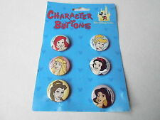 VINTAGE PROMO PINBACK BUTTON #107-008 -  MIP SET - DISNEY PRINCESSES - 6 pins