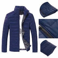 Fashion Mens Winter Slim Fit Jacket Navy Blue Padded Coat Parka Outwear Asia XL